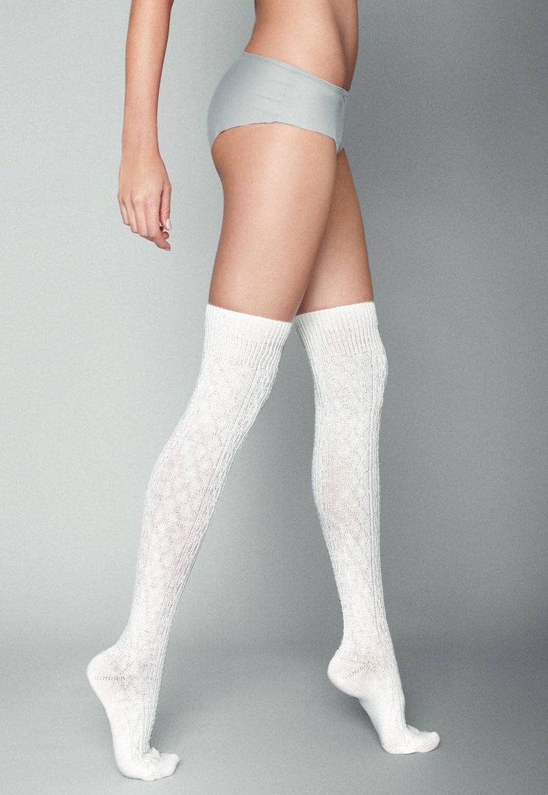 Cortina Knitted Fashion Over-Knee Socks by Veneziana in white cream