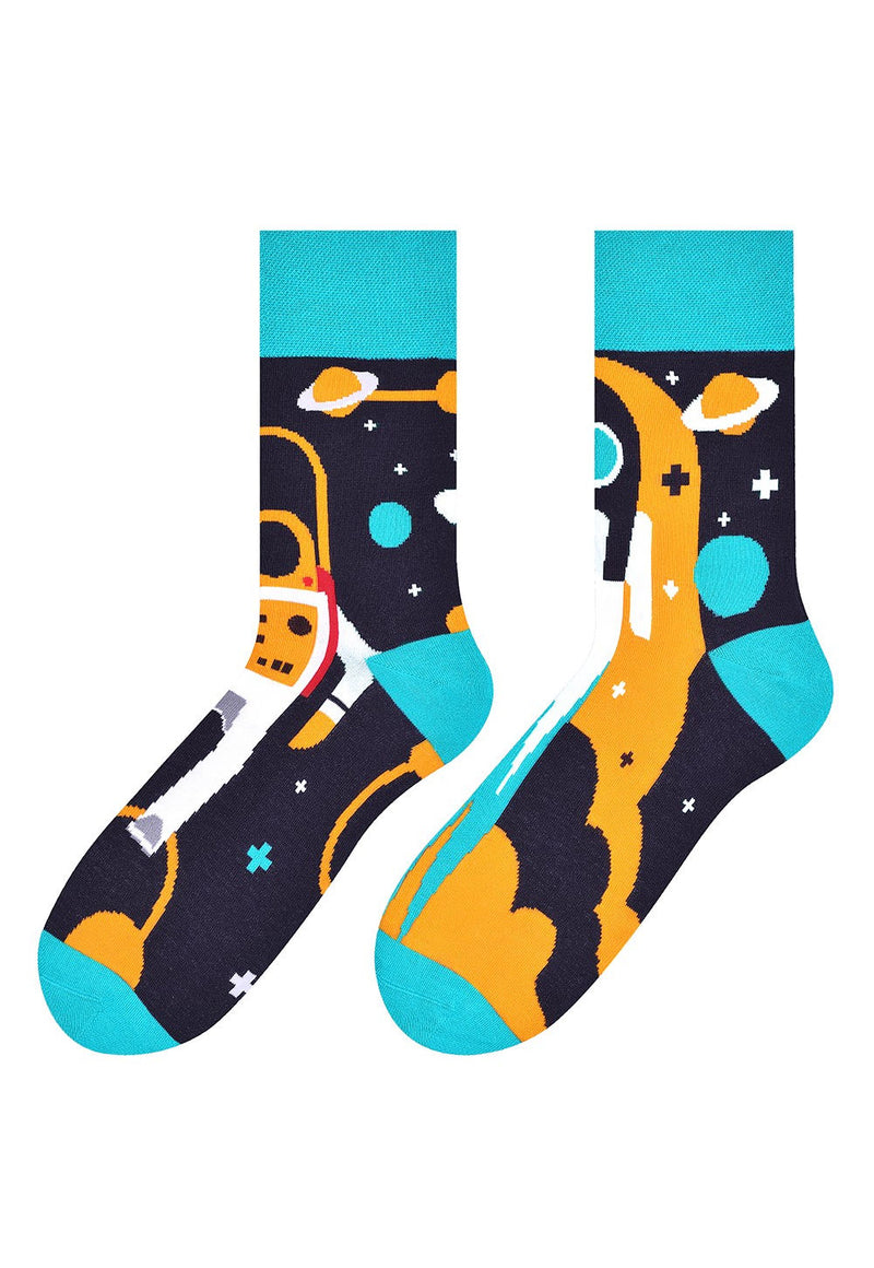 Cosmos Space Odd Patterned Socks in Dark Grey by More