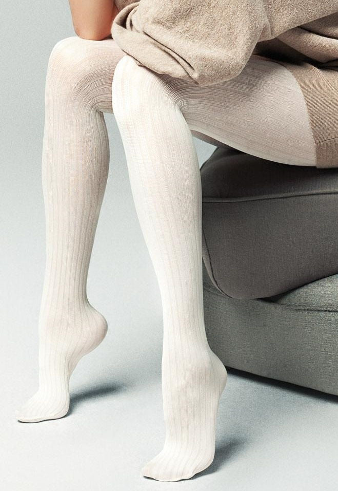Costina II Wide Ribbed Cable Tights by Veneziana in white ivory cream