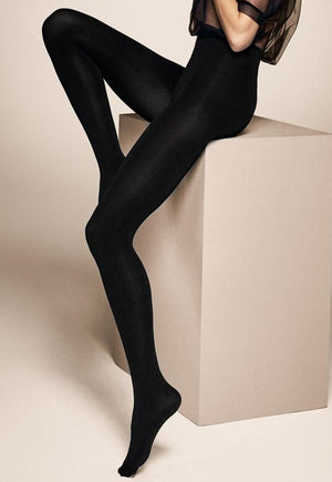 Cover 100 Den 3D Coloured Opaque Tights by Veneziana in black