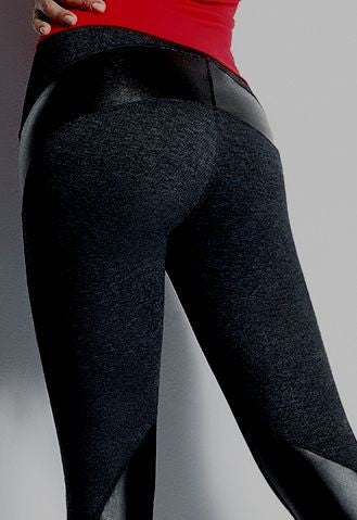 Denim Leggings with Leather Look Panel Inserts