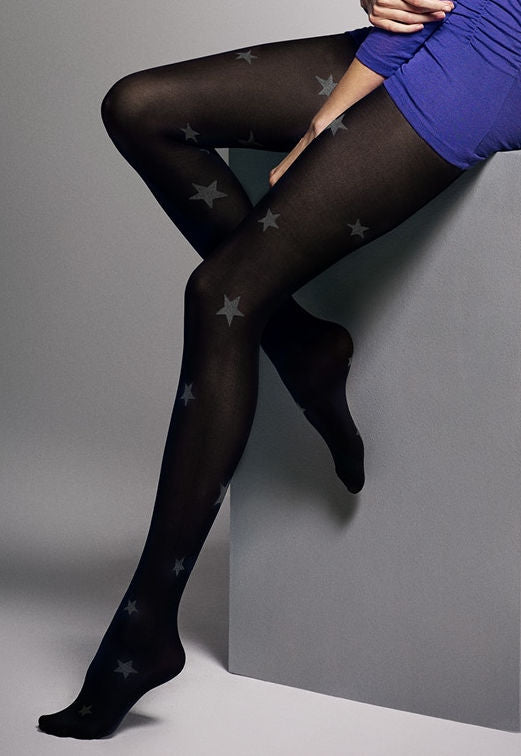 Diana Stars Patterned 3D Opaque Tights by Veneziana in black grey