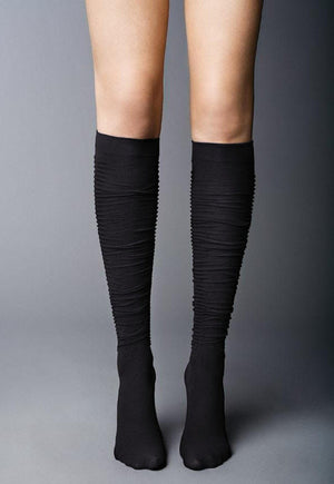 Diva Slouch Effect Opaque Knee-Highs by Veneziana in black