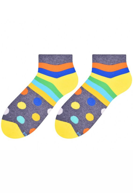 Dots & Stripes Patterned Low Cut Socks in Grey by More