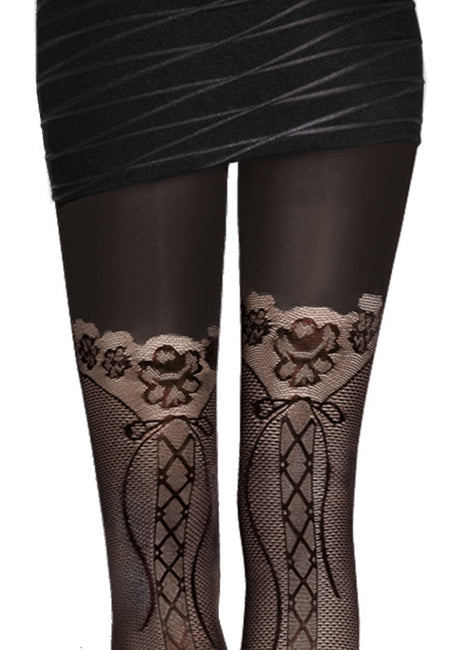 Elma Lace-Up Mock Hold-Up Sheer Tights by Adrian