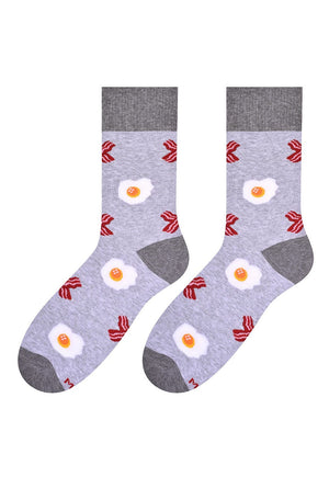 Eggs & Rashers Patterned Socks in light Grey by More