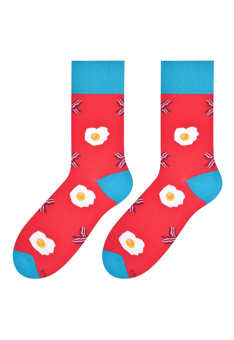 Eggs & Rashers Patterned Socks in Red by More