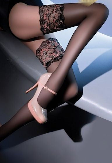 Elite 20 Denier Wide Floral Top Sheer Hold-Ups by Gabriella in Black