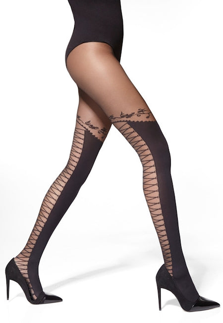 Edith Lace-Up Micro Tulle Hold-Up Tights by Gabriella