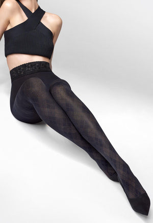 Emmy 18 Argyle Patterned Opaque Tights by Marilyn in black/gold