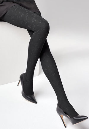 Emmy 06 Flocked Flowers Patterned Opaque Tights by Marilyn in black