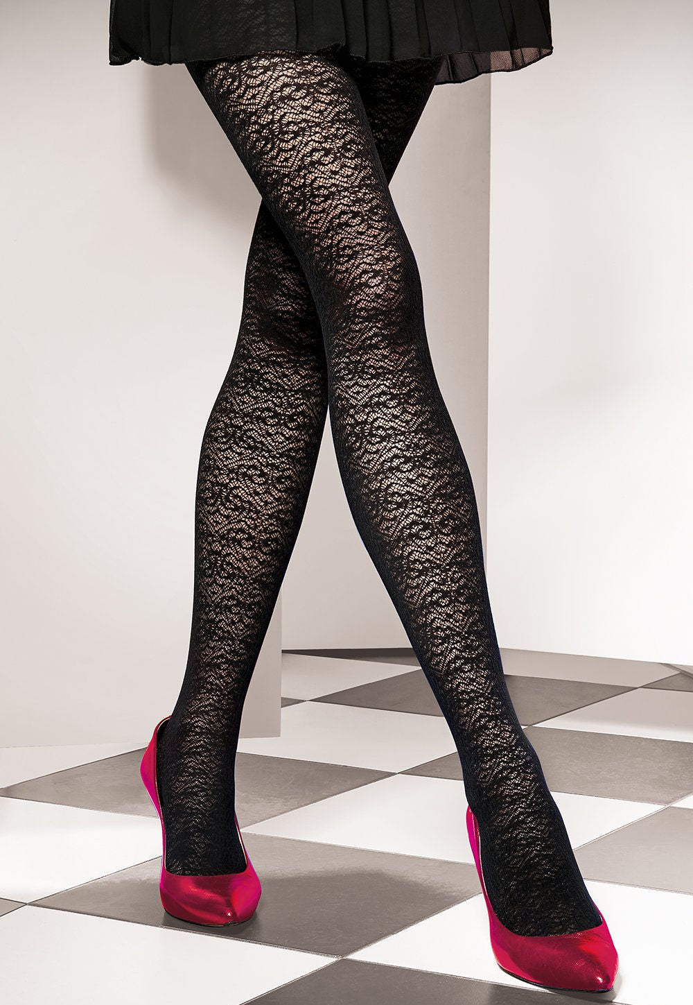 Est Belle 02 Lace Patterned Black Opaque Tights by Gatta