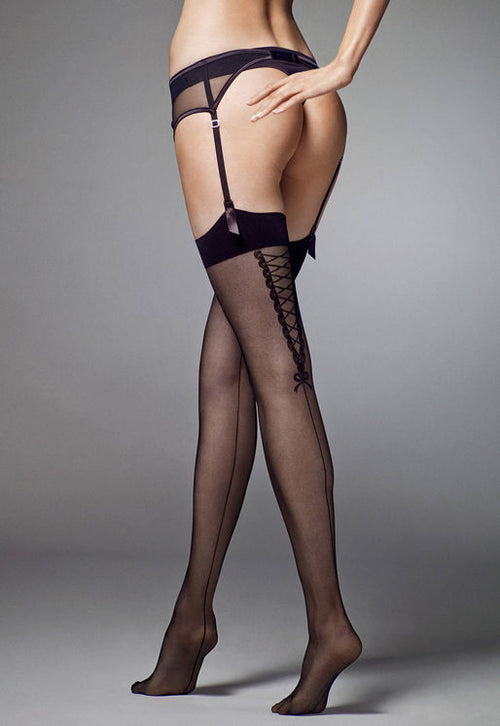 Eva Backseam & Lace-Up Sheer Stockings by Veneziana in black red