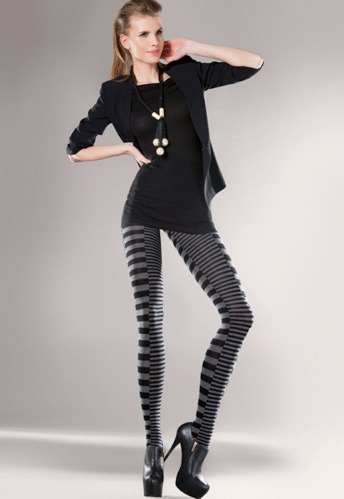 Febe Striped Patterned Cotton Opaque Tights by Gabriella
