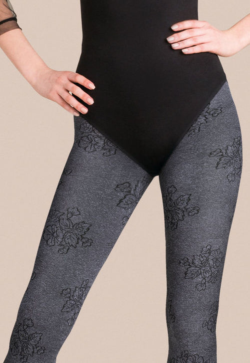 Fiona Floral Patterned Marl Opaque Tights by Gabriella
