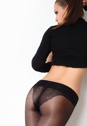 Fiore 40 Den Low Waist Lace Brief Sheer Tights by Giulia
