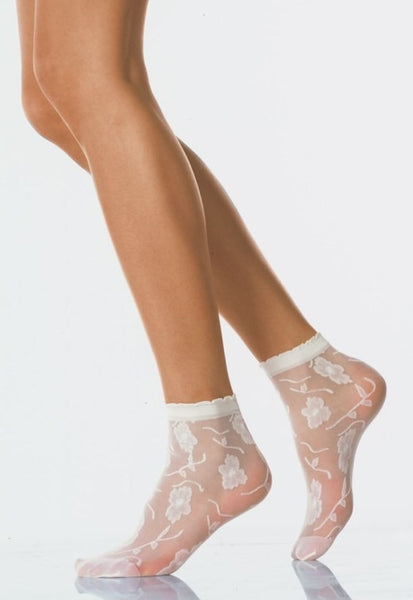 Fiore Flower Patterned Sheer Socks by Veneziana