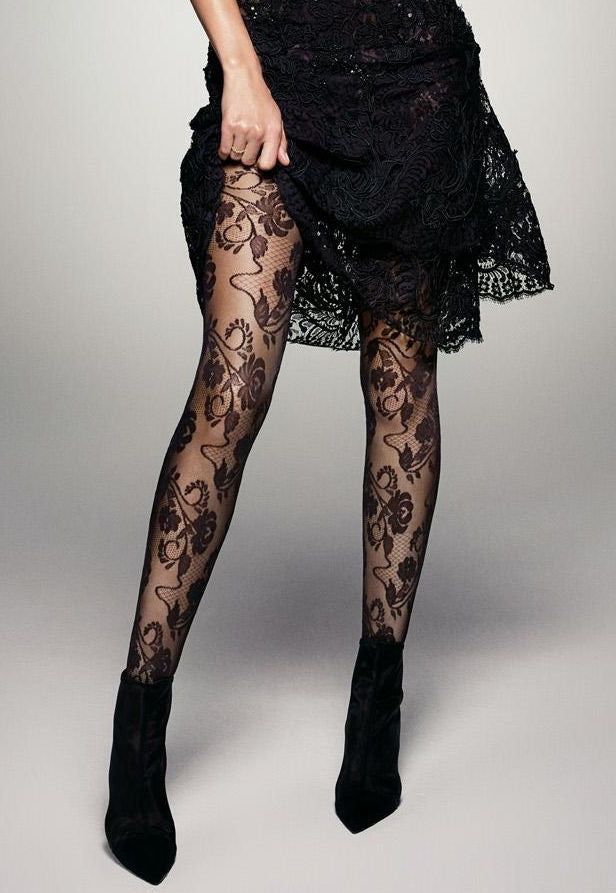 Fiori Flower Patterned Lace Tights by Veneziana