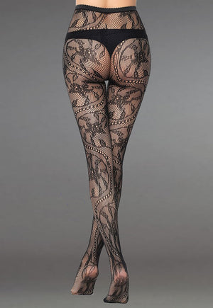 Floral Vine Patterned Lace Fishnet Tights (Pattern #03) in black