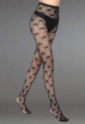 Stars Patterned Lace Fishnet Tights (Pattern #04) in black