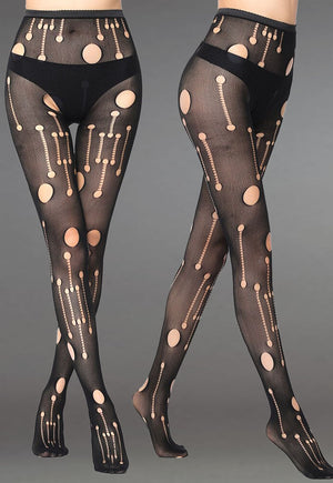 Ripped Holes Patterned Lace Fishnet Tights (Pattern #07) in black