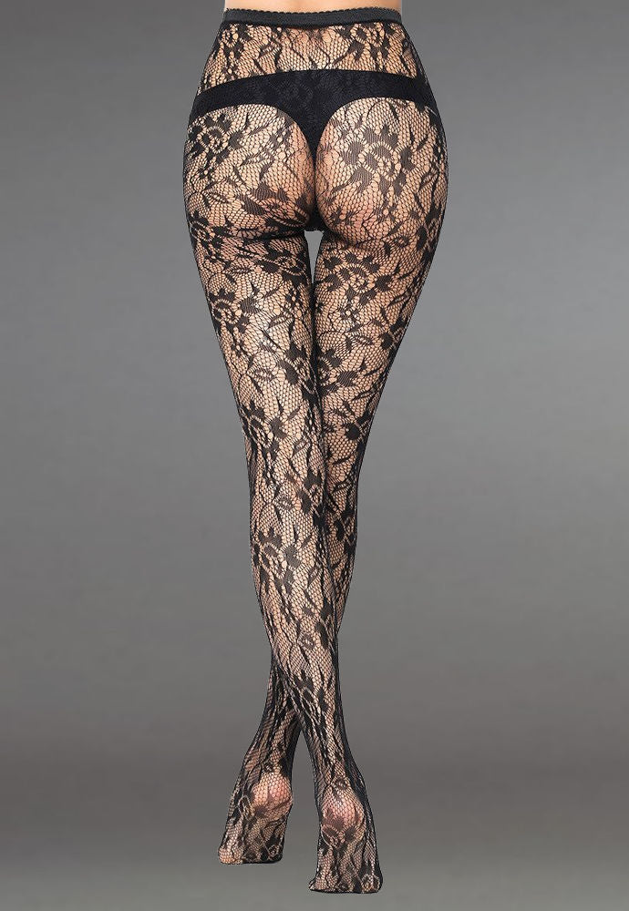 Floral Patterned Lace Fishnet Tights (Pattern #08) in black