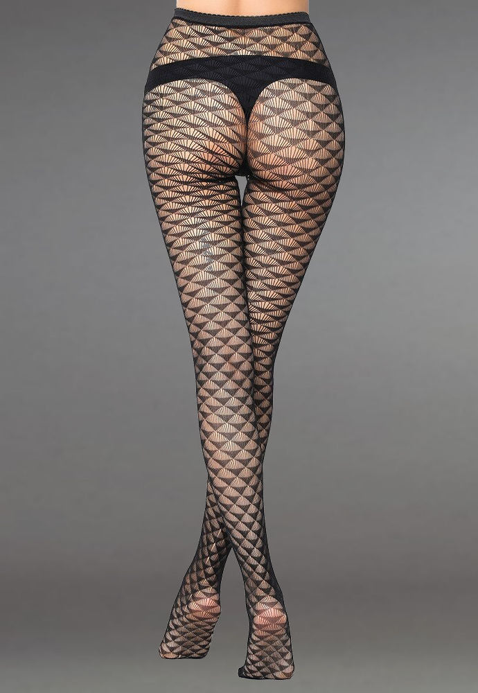Triangle Scales Patterned Lace Fishnet Tights (Pattern #12) in black