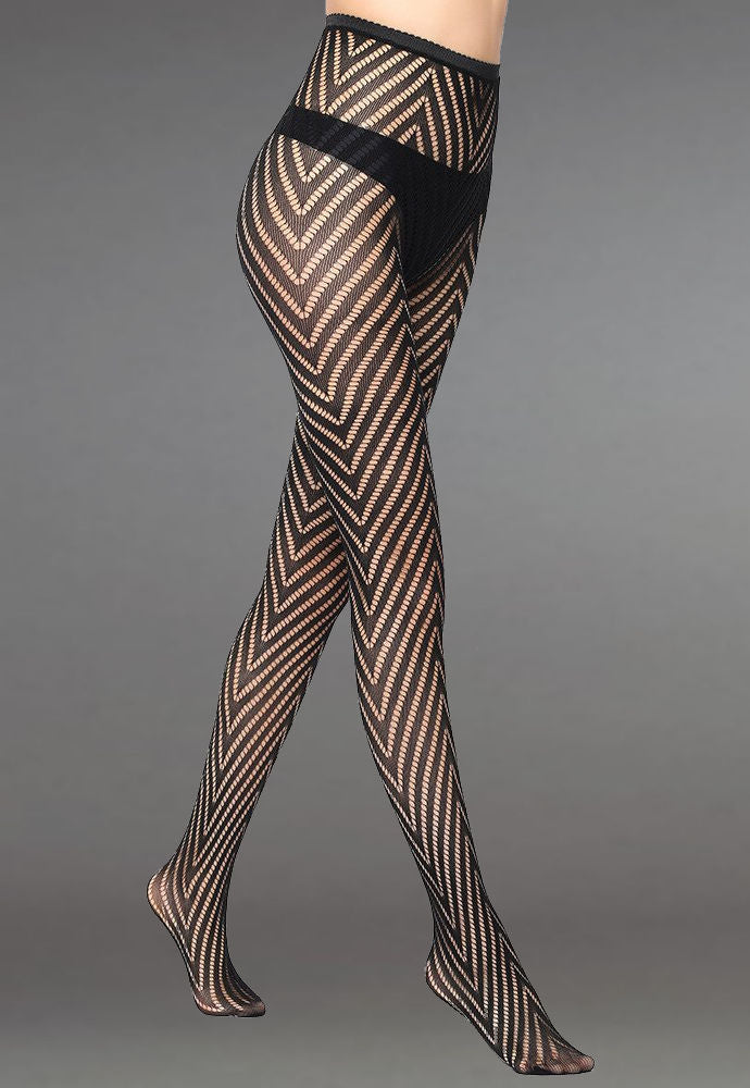 Chevron Stripes Patterned Lace Fishnet Tights (Pattern #19) in black