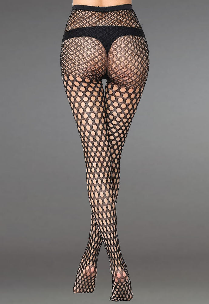 Polka Dot Patterned Lace Fishnet Tights (Pattern #20) in black