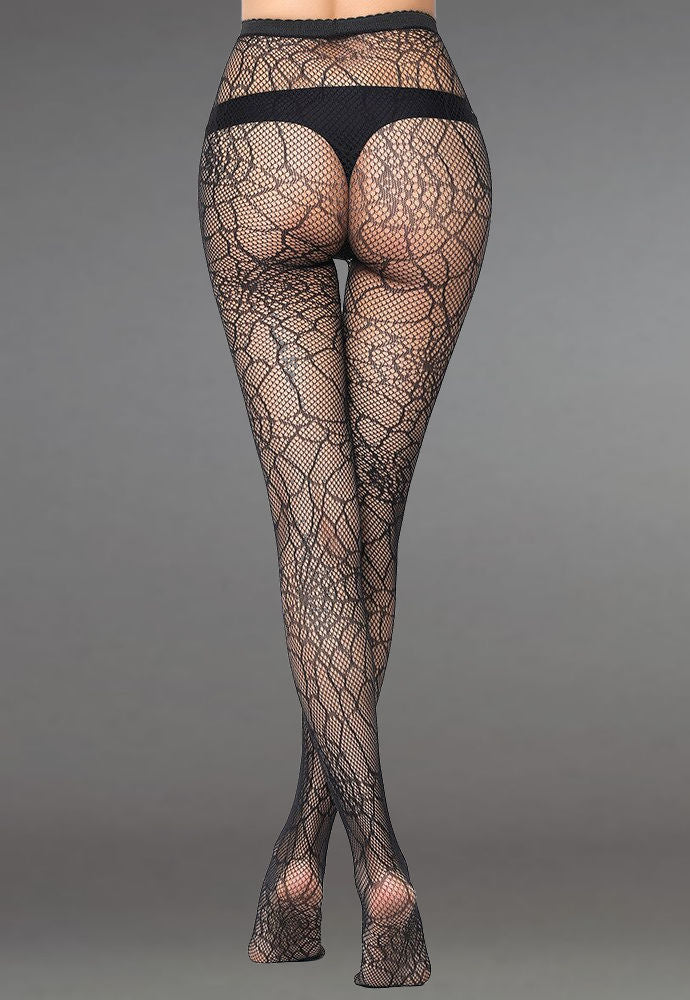 Spider Web Patterned Lace Fishnet Tights (Pattern #22) in black