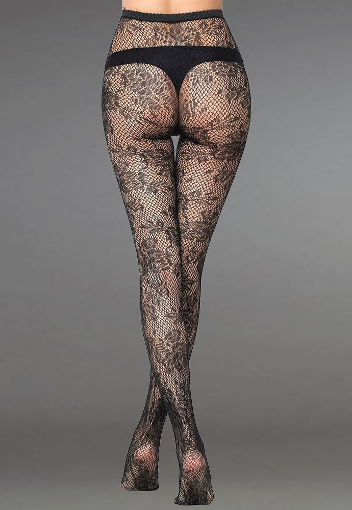 Vintage Roses Patterned Lace Fishnet Tights (Pattern #25) in black