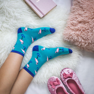 Flamingo Patterned Socks in Turquoise by More