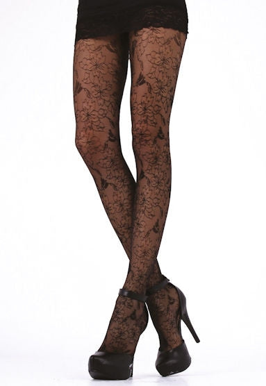 Flora Lace Micro Tulle Tights by Cecilia de Rafael