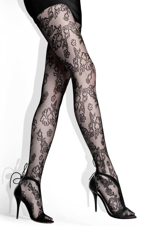 Flower Patterned Lace Micro Tulle Tights by Lores
