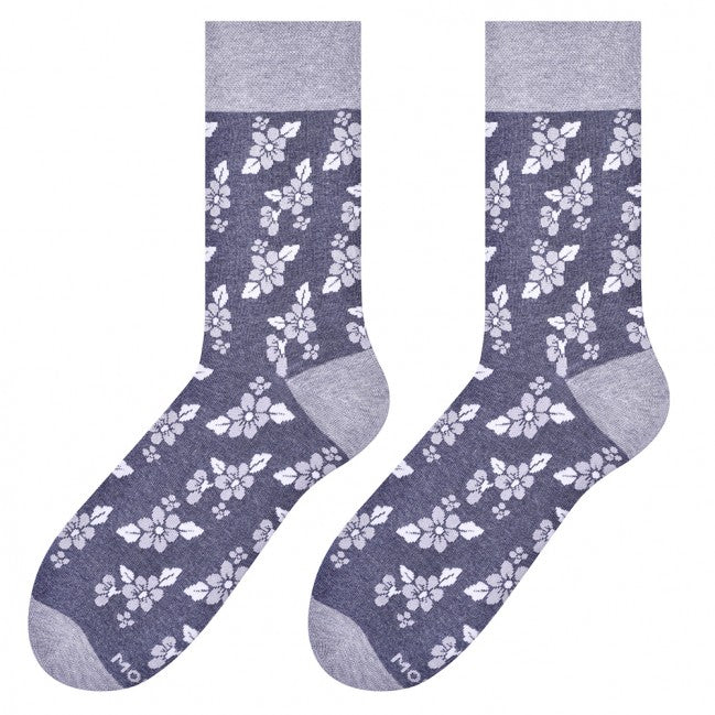 Flowers Socks in Grey by More