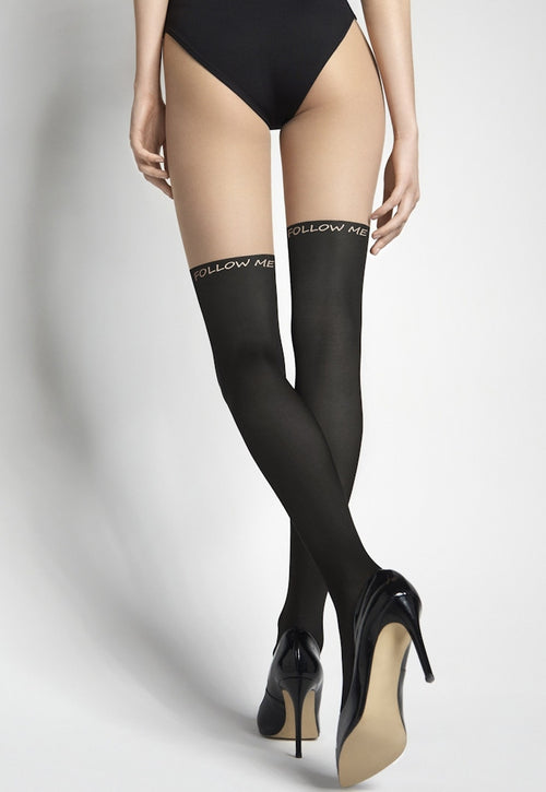 """Follow Me"" Mock Hold-Up Patterned Tights by Marilyn"