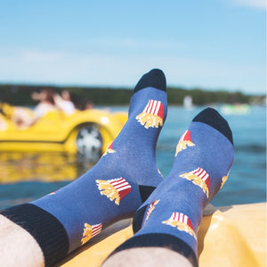 French Fries Patterned Socks in Navy Blue by More