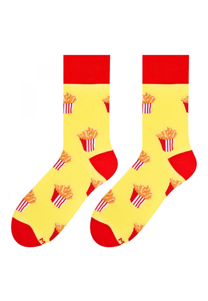 French Fries Patterned Socks in Yellow by More