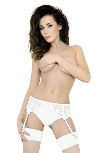 4 Straps Freesia Floral Lace Suspender Belt in White