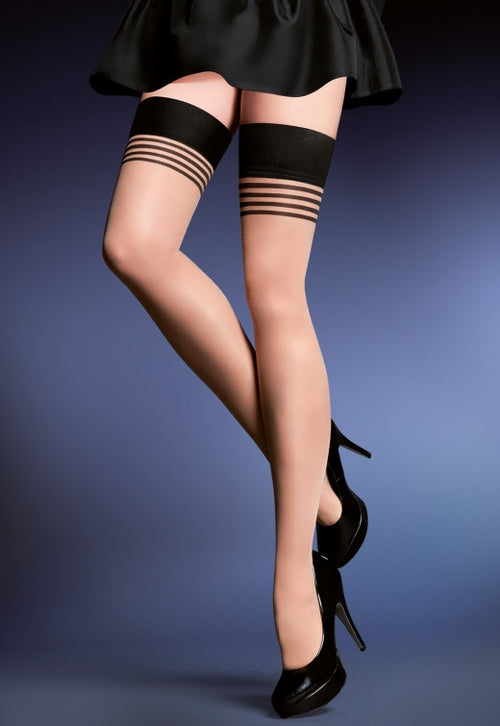 Gala Contrast Welt & Stripes Sheer Hold-Ups by Gabriella