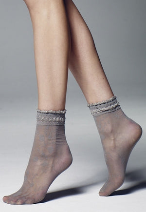 Galena Rose Vine Patterned Sheer Ankle Socks by Veneziana in grey