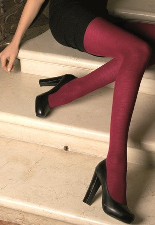 Gennifer 100 Denier Wool Tights by Trasparenze in Rubino