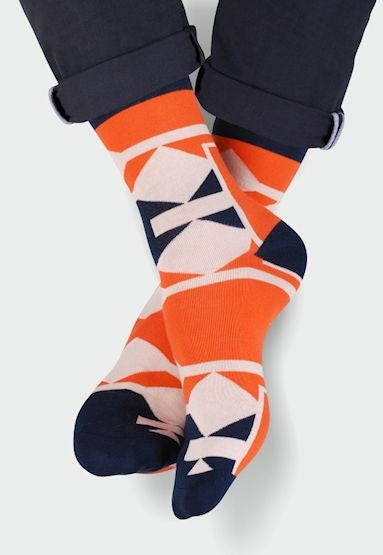 Geometric Patterned Socks in Navy & Orange by More