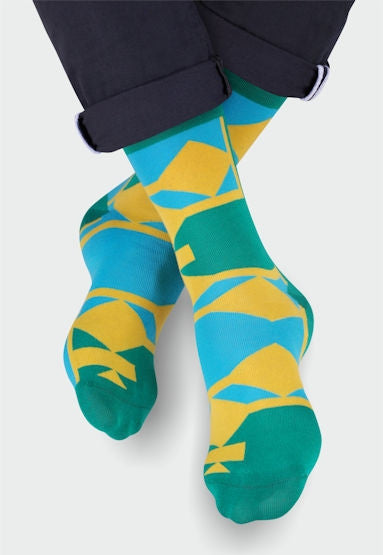 Geometric Patterned Socks in Turquoise, Yellow, Green by More