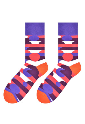 Circles & Stripes Patterned Socks in Purple by More