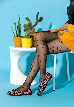 Giny Spotty Patterned Sheer Tights by Gabriella in black