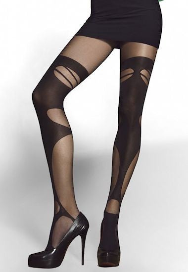 Diavola Opaque Strip Panty Suspender Tights by Fiore