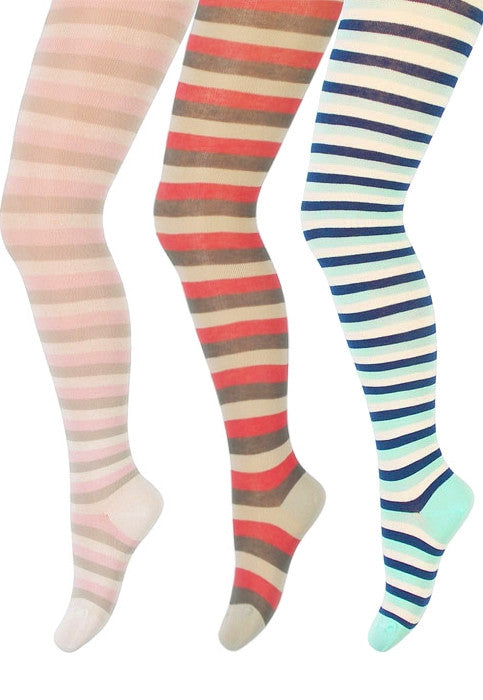 Girls' Striped Coloured Cotton Tights by Wola