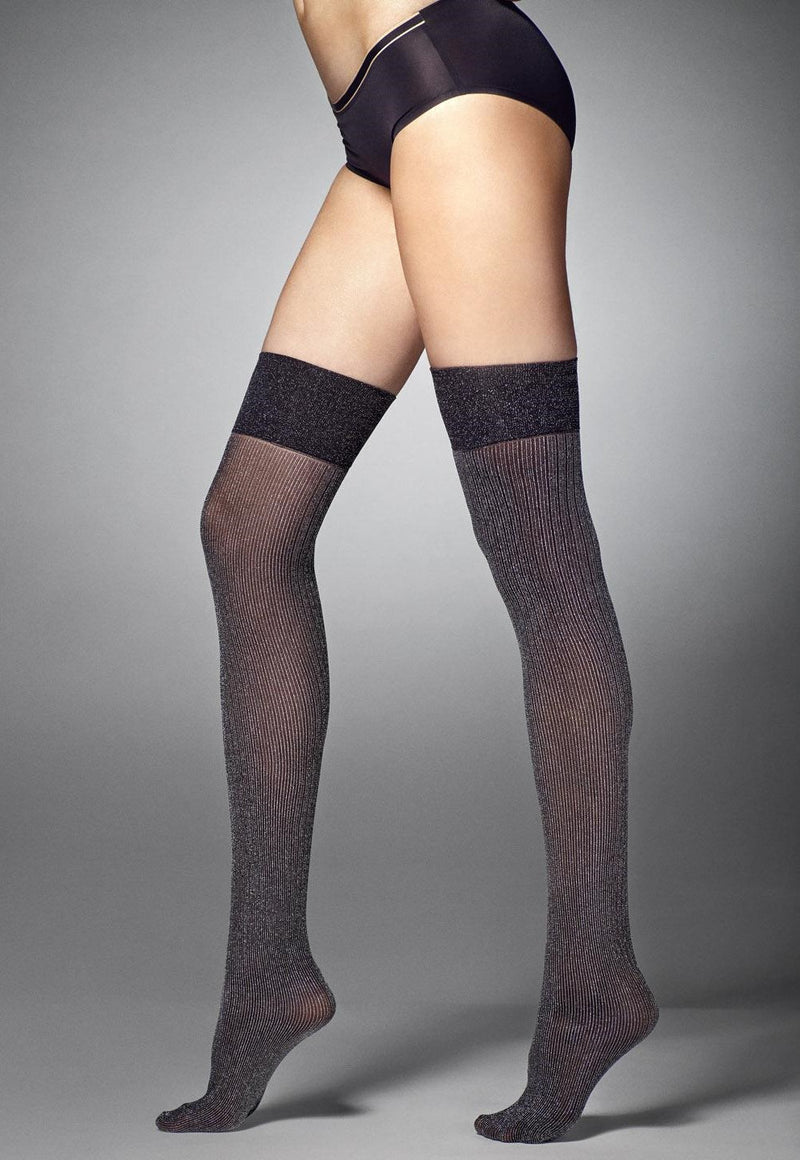 Giselle 40 Den Silver Lurex Over-Knee Socks by Veneziana in black silver