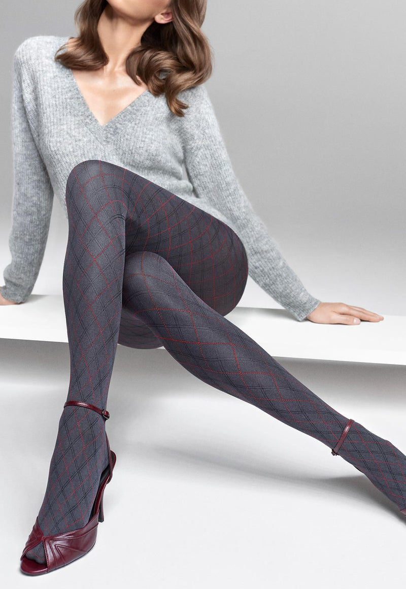 Grace 02 Fine Argyle Patterned Opaque Tights by Marilyn in grey red